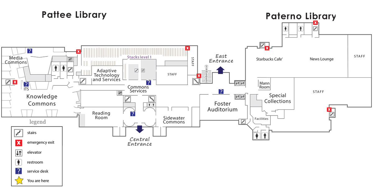Floor plan - Pattee and Paterno Library first floor