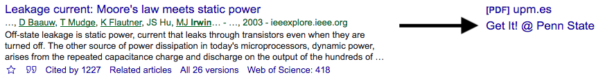 "Screenshot showing a Google Scholar result item emphasizing the ""Get it @ Penn State"" link"