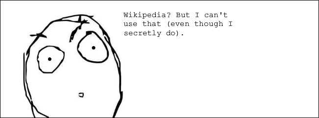 Hand-drawn cartoon concerning the use of Wikipedia as a reference..