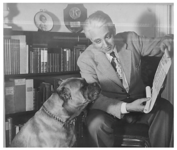 Original photo of Mr. Eiche with his family's dog, Thor.