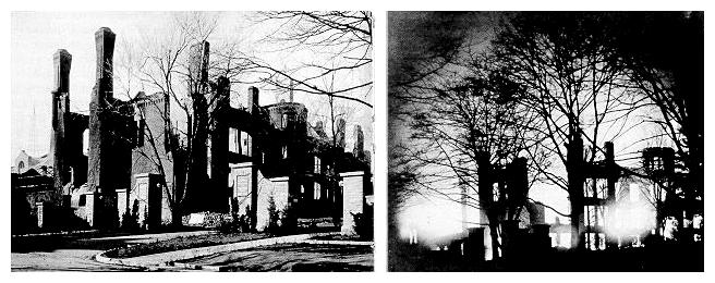 Photographs of the main Engineering Building ablaze, November 25, 1918, and its burned-out hulk.