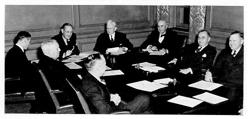 Rare photographs of a meeting of the trustees' executive committee, November 1940.