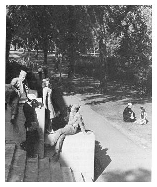A wartime publicity photo taken on the steps of the Electrical Engineering Building, later featured on the cover of the October 1943 Penn State Alumni News.
