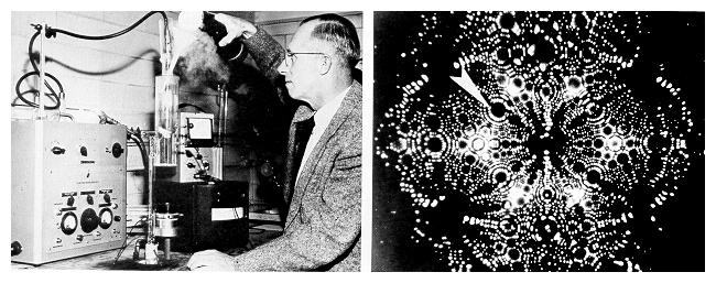 Erwin Mueller with a portion of the fiel-ion microscope, and a photograph made through the microscope of a tungsten atom magnified 2.1 million times.