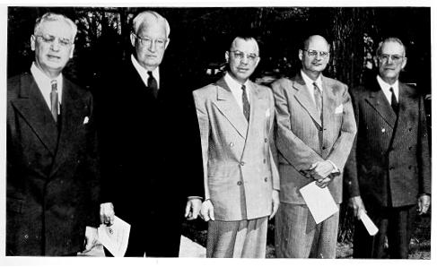 The first group of Distinguished Alumni, 1951, meet with President Eisenhower.