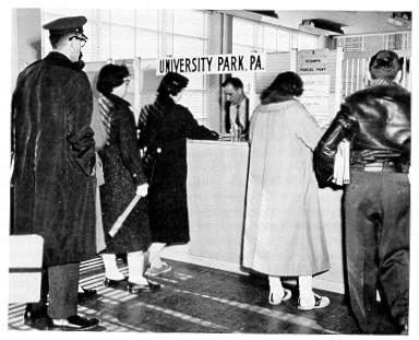 Students at the new University Park post office.