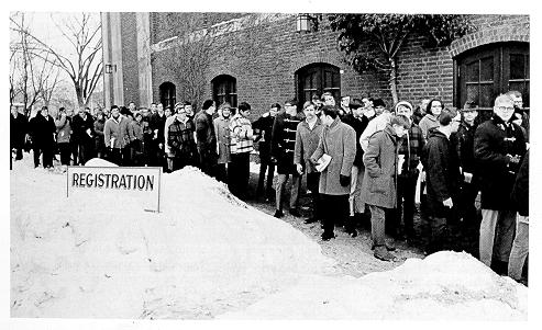 Students in line at Recreation Building