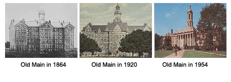 Old Main in 1864, 1920 and 1954