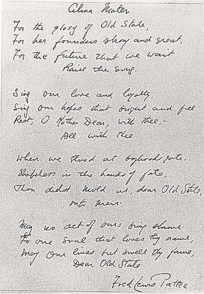 The Penn State Alma Mater, handwritten by Fred Lewis Pattee