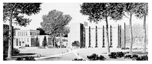 Architectural rendering of Pattee Library's east wing
