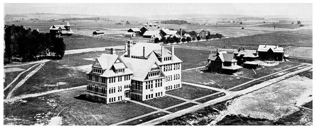 old black and white photograph of early penn state campus