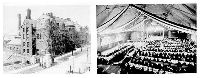 old black and white photograph of students dining in the Armory (right) and exterior of the Main Engineering Building (left), circa 1893.