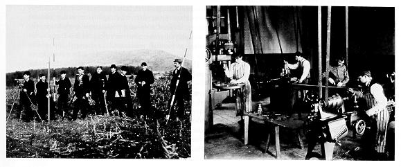 old black and white photograph of students surveying a railroad right of way, Left, Mechanical engineering students machine parts on a speed lathe,right