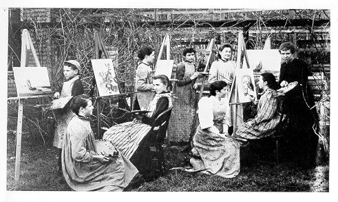 old black and white photograph of women painting in outdoor art class