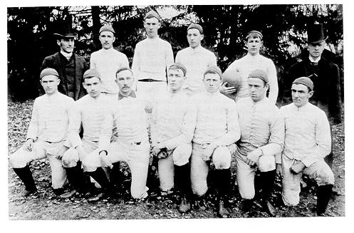 old black and white photograph of members of the first Penn State intercollegiate football team