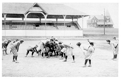 old black and white photograph of Football practice on Beaver Field