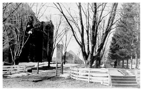 old black and white photograph of Main entrance to campus