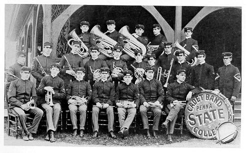 old black and white photograph of penn state Cadet Band
