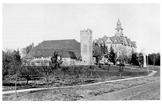 old black and white photograph of The Armory and Old Main