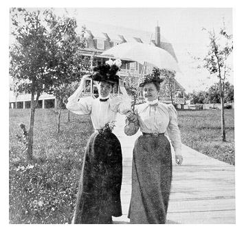 old black and white photograph of Two women out doors