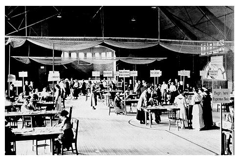 old black and white photograph of student Registration in the Armory