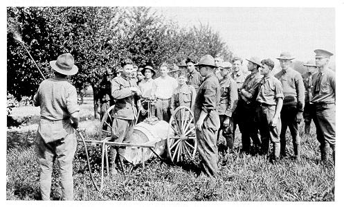 old black and white photograph of students spraying fruit trees.