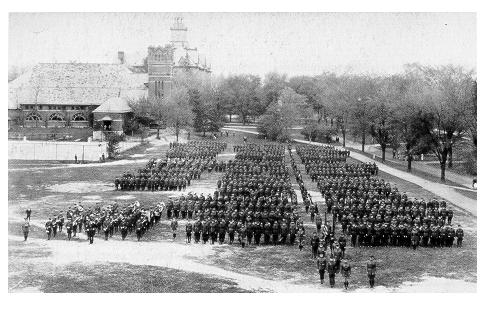 old black and white photograph of Students in miltary formation