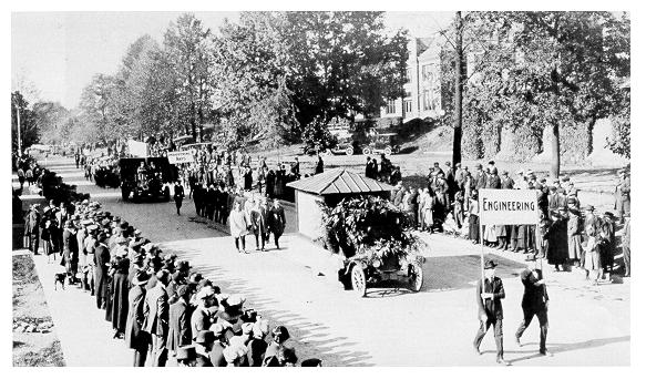 old black and white photograph of Students parading