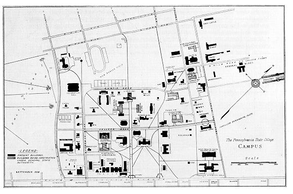 Enduring the great depression penn state university libraries old map of penn state campus malvernweather Images
