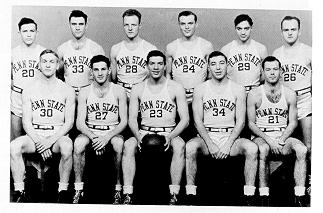 old black and white photograph of Varsity Basketball squad