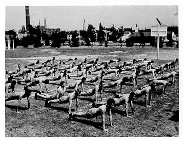 old black and white photograph of Military trainees at the College