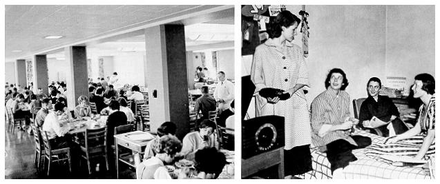 old black and white photograph of A dining room in Simmons Hall (left) and a women's residence in McElwain hall (right)