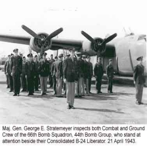 Combat and Ground Crew next to their Consolidated B-24 Liberator