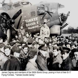 Group of men standing in front of a plane with propellers called the Yankee Doodle Dandee