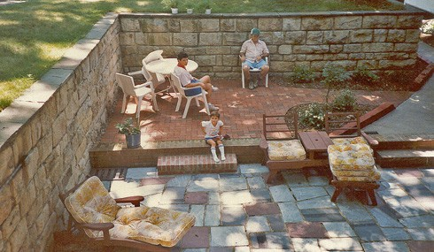 The Upper Level Of The Sunken Patio Was Intended For A Future In Ground  Swimming Pool. The Large Stones For The Wall Were Hauled From A Demolished  Church In ...