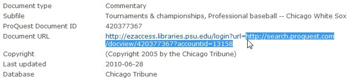 Proquest close up of the link.