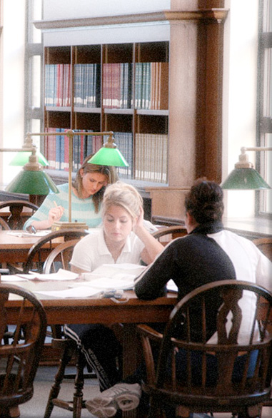 Students in the Paterno Family Reading Room