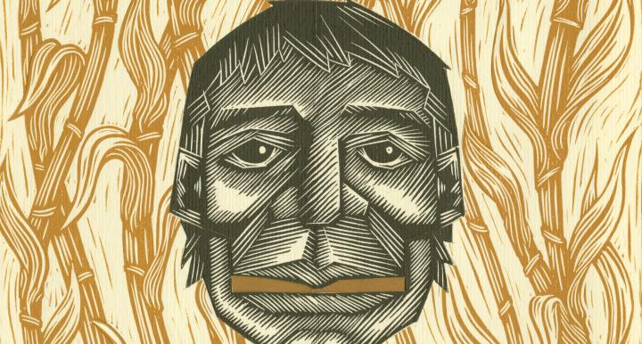 Itzcuintlán: el Camino al Mictlán: etching/drawing, corn rows background and black ink man's face in foreground, center