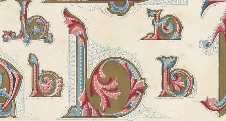 "elaborate multi-colored illustration of the letter ""b"" with flourishes"