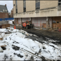February 2019 - Ground Floor West Pattee South Wall Storefront Prep and Masonry Work