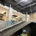 June 2019 - Pattee Library Interior Courtyard Glass Staircase Railings Installed