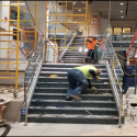 July 2019 -  Pattee Library Interior Courtyard Stainless Steel Nosing on Stairs
