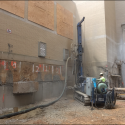 July 2018 - Pattee Library Interior Courtyard Beginning Micropiles