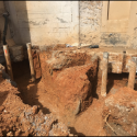 August 2018 - Pattee Library Interior Courtyard Excavation for Grade Beam Foundations